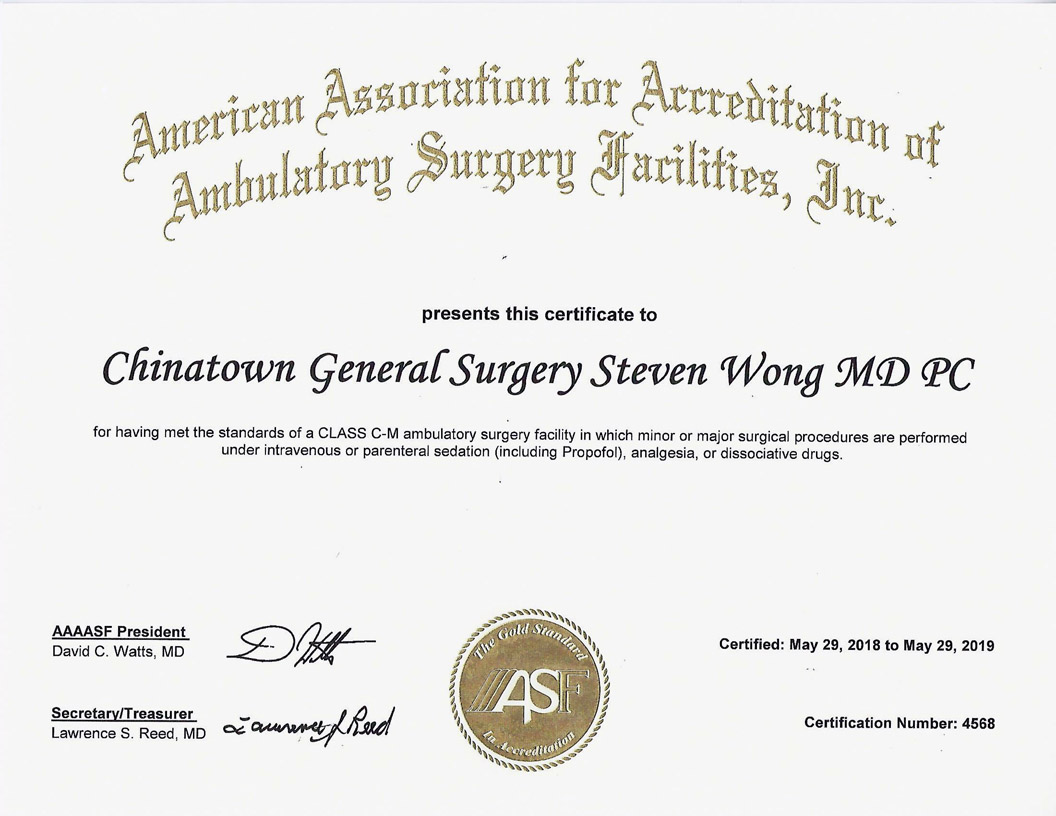 Chinatown General Surgery AAAASF Certified